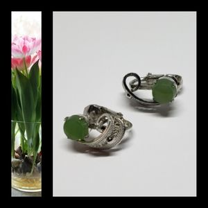 Vintage Jade Colored Silvertoned Clip Earrings